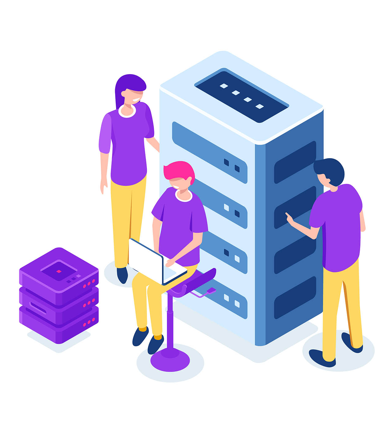 Server room isometric, datacenter and database, working on a common project, teamwork and collaboration, maintain hardware, cartoon people vector